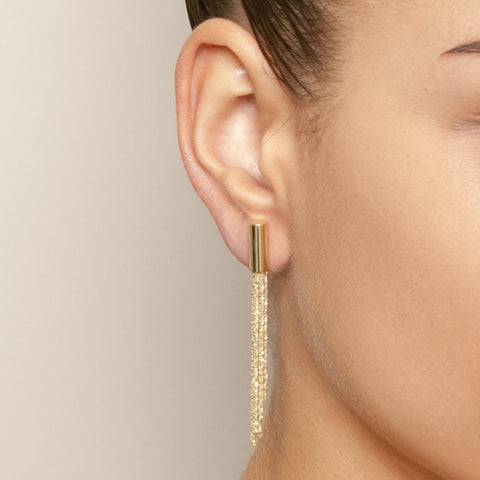 Claudia Milic Gold Plated Long Silver Earrings