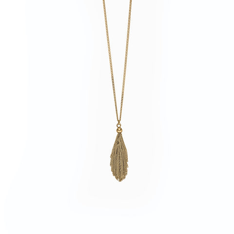 Claudia Milic | 'Tassel'  Collier Single Small Yellow Gold Plated Silver Necklace