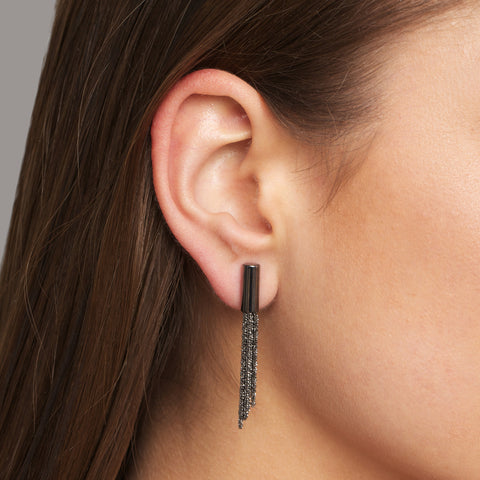 Claudia Milic Shine Black Rhodium Plated Long Silver Earrings