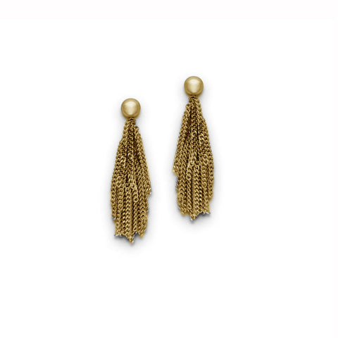 Claudia Milic Short Tassel Yellow Gold Plated Silver Earrings