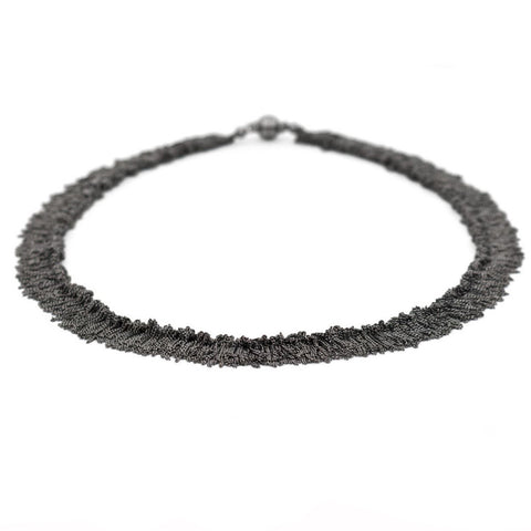 Claudia Milic Siara  Black Rhodanized Silver Tassel Necklace