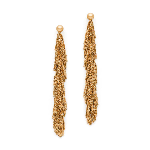 Claudia Milic Yellow Gold Tassel Earrings