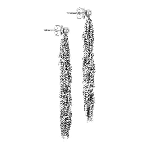 Rhodinized Silver Tassel Earrings
