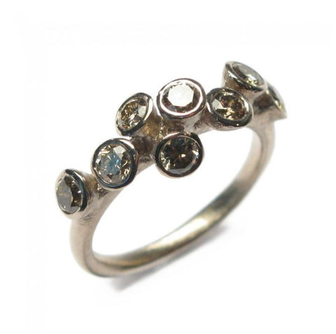 Diana Porter 18ct White Gold 8 Brown Diamond Ring