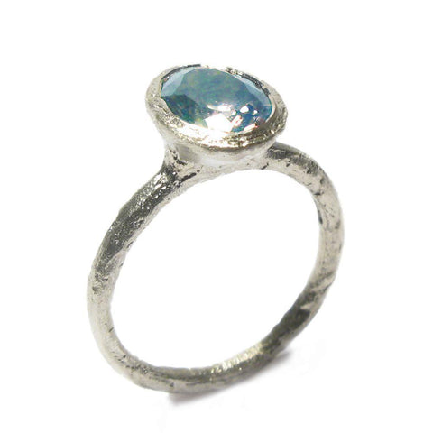 Diana Porter 9ct White Gold Oval Aquamarine Ring