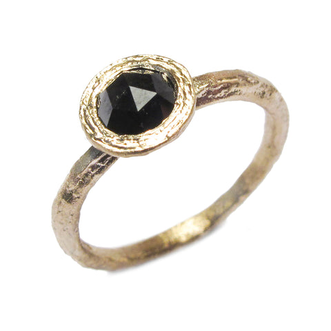 Diana Porter 9ct Yellow Gold Rose Cut  Black Diamond Ring