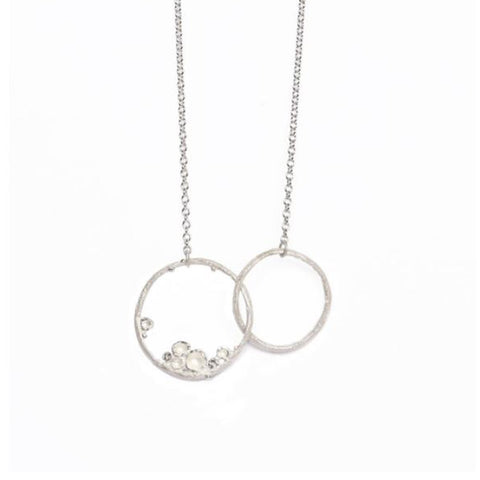 Diana Porter Emerge Small Double Hoop Silver Necklace