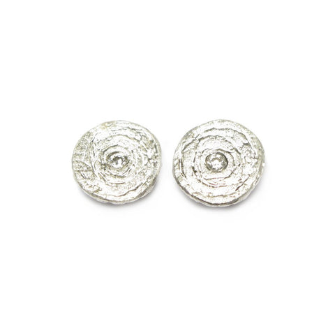 Diana Porter Etched Silver Diamond Stud Earrings