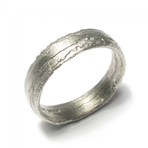 Diana Porter Wide Textured 18ct White Gold Ring