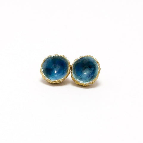 Eily O'Connell Acorn Blue Enamel Gold Plated Silver Earrings
