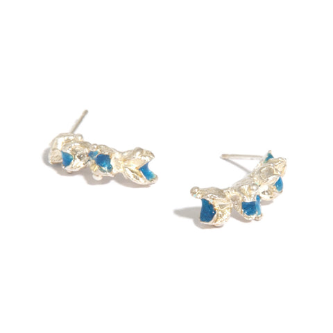 Eily O'Connell Blue Enamel Long Stud Silver Earrings