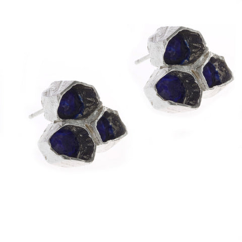 Eily O Connell Honeycomb Blue Enamel Silver Earrings