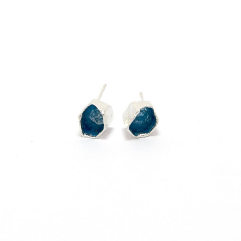 Eily O'Connell Honeycomb Blue Enamel Silver Earrings