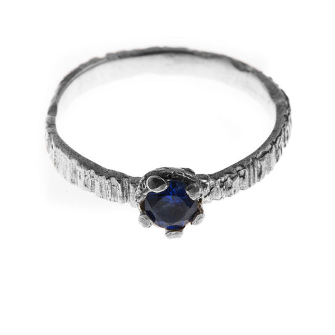 Eily O Connell Sunbark Blue Sapphire 18ct White Gold Ring