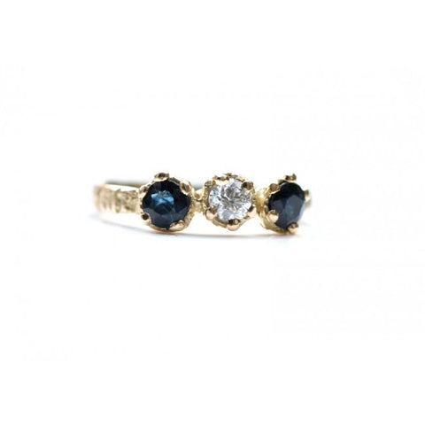Eily O Connell Sunbark Trio Sapphire 18ct Yellow Gold Diamond Ring