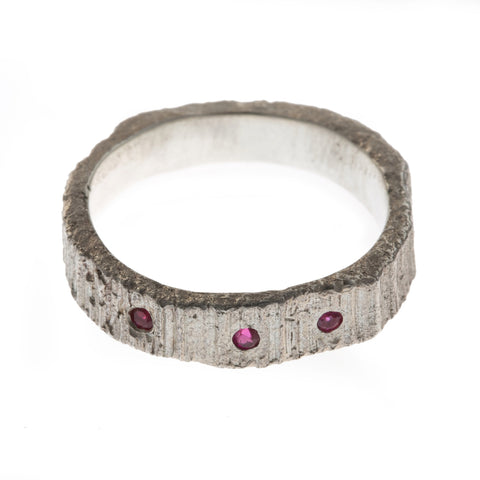 Eily O Connell Three Rubies 18ct White Gold Ring