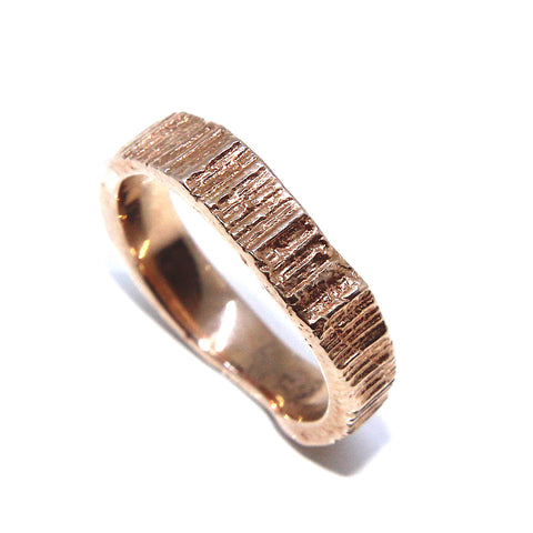 Eily O'Connell 4mm Bark 18ct Rose Gold Ring