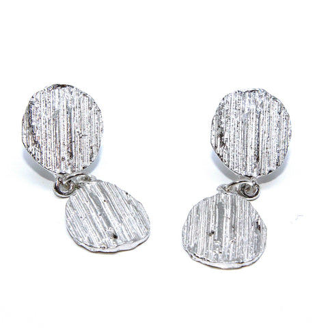 Eily O'Connell Bark Drop Stud Silver Earrings