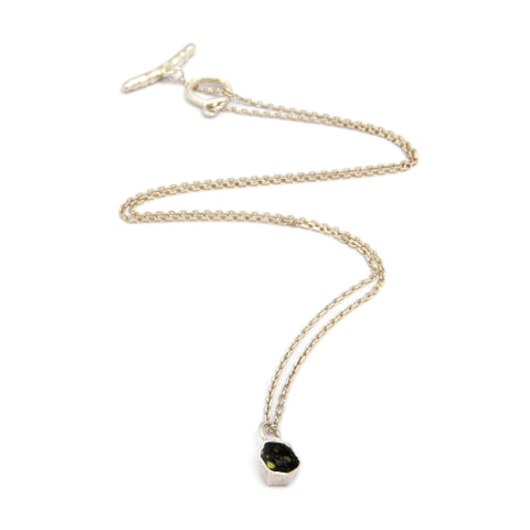 Eily O'Connell Honeycomb Single Black Enamel Silver Necklace 2