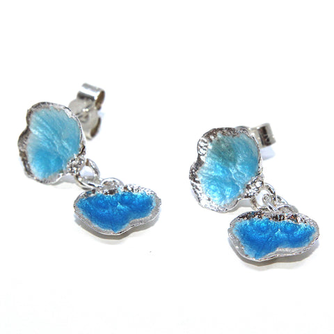 Eily O'Connell Snake Scale Blue Enamel Drop Stud Silver Earrings