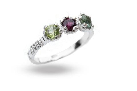 Eily O'Connell Sunbark Trio Gem Silver Ring