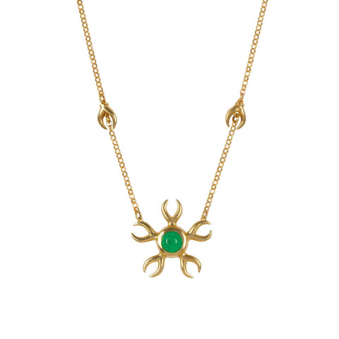 Ella Green Metamorphosis Emerald Dream 9ct Yellow Gold Necklace