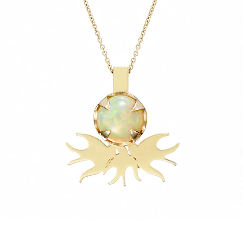 Ella Green Quarreling Swallows Opal 9ct Yellow Gold Necklace