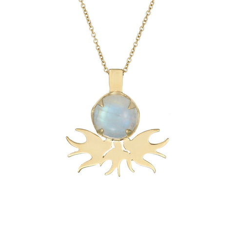 Ella Green Quarreling Swallows Rainbow Moonstone 9ct Yellow Gold Necklace