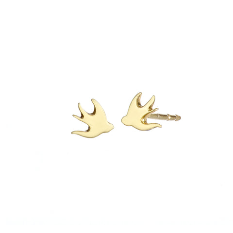 Ella Green Small Swallows 9ct Yellow Gold Earrings