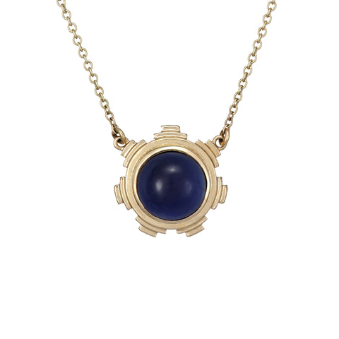 Ella Green Van Eyck Dark Blue Iolite 9ct Yellow Gold Necklace