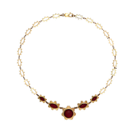 Ella Green Van Eyck Statement Red Garnet 9ct Yellow Gold Necklace