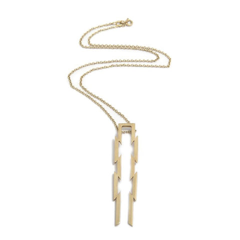 Ella Green Double Razor 9ct Yellow Gold Necklace