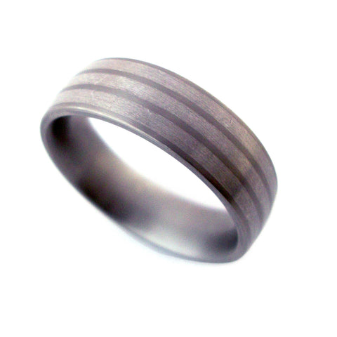 Feniom 3 Silver Band Titanium Ring