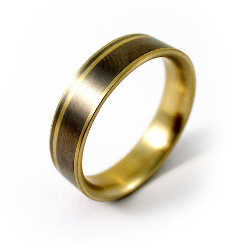 Feniom 18ct Yellow Gold Titanium Ring