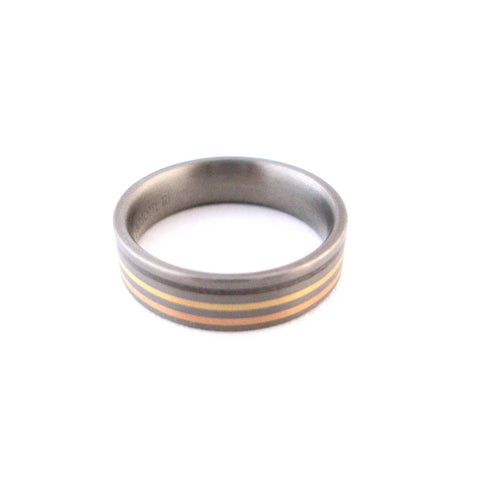 Feniom Gold, Silver and Titanium Ring