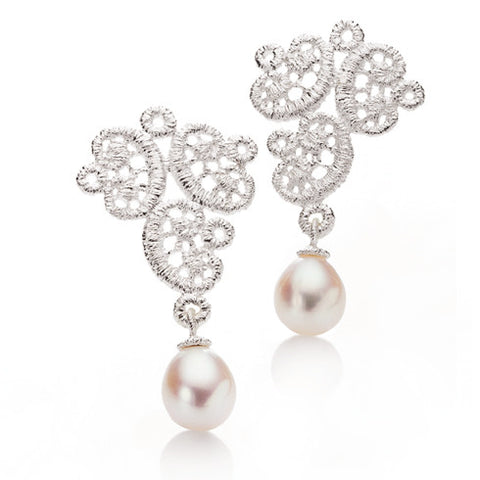 Brigitte Adolph 'Figaro' Pearl Lace Silver Earrings