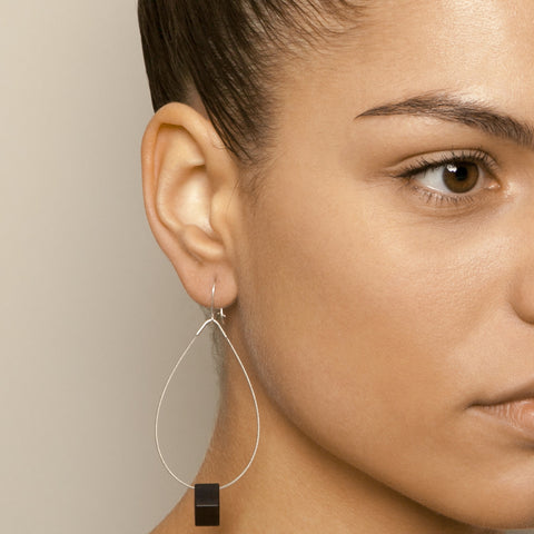 Filip Vanas Black Hoop Square Aluminium Earrings