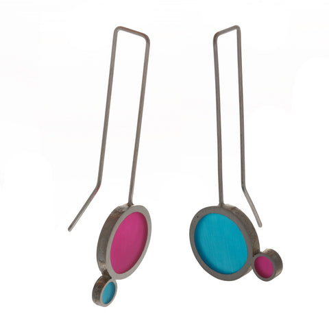 Filip Vanas Blue And Pink Silver Earrings