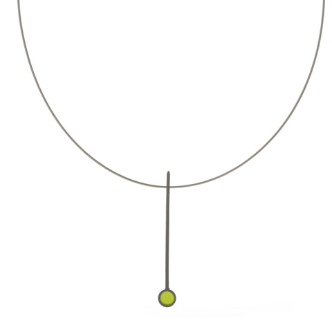 Filip Vanas Circle Green Silver Necklace