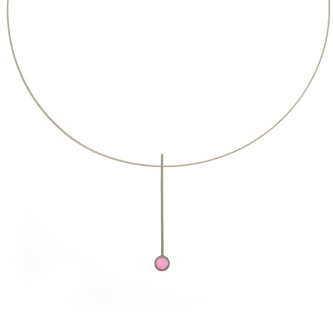 Filip Vanas Pink Circle Silver Necklace