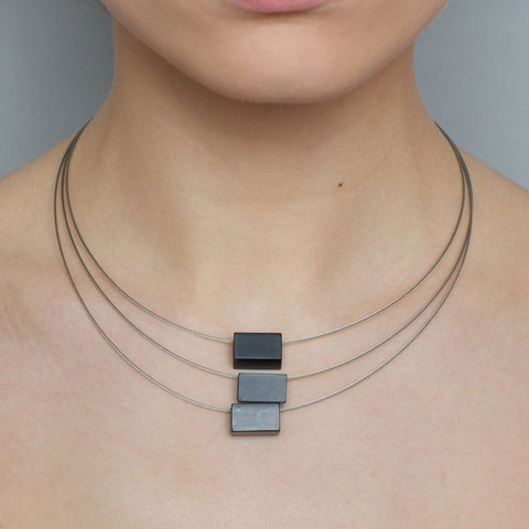 Filip Vanas 'Phi One' 3 Fine Steel Cables Black Aluminium Necklace