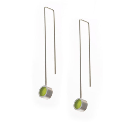 Filip Vanas Green Circle Drop Silver Earrings