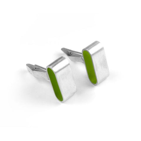 Filip Vanas Green Resin Flat Silver Cufflinks