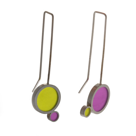 Filip Vanas Long Drop Purple And Green Silver Earrings