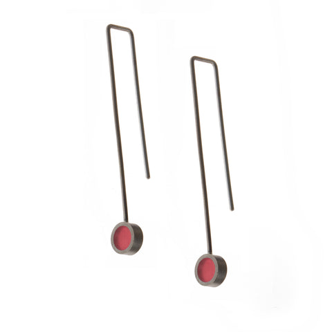Filip Vanas Red Circle Drop Silver Earrings