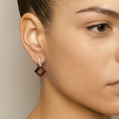 Filip Vanas Red Square Hook Silver Earrings