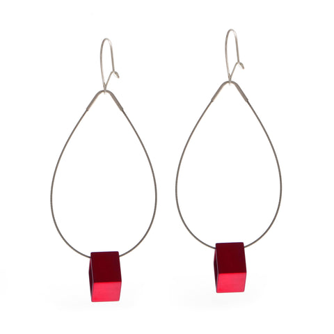 Filip Vanas Red Hoop Square Aluminium Earrings