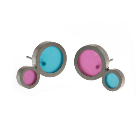 Filip Vanas Stud Pink And Blue Silver Earrings