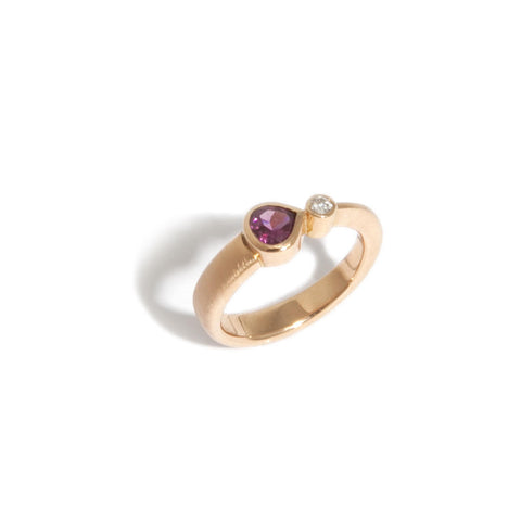 Friederike Grace 18ct Rose Gold 'Comet' ring with Rhodolite Garnet