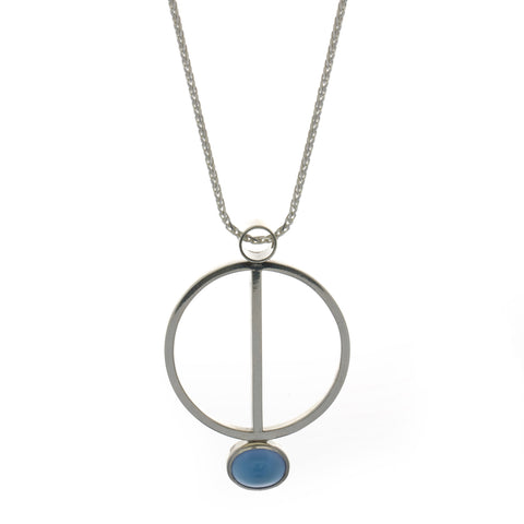 Friederike Grace Blue Agate Silver Necklace